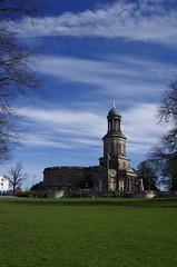Standing tall (Sundornvic) Tags: church shrewsbury shropshire stchads town centre quarry park grass trees blue sky clouds light tower cross