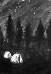 あの人からの手紙 (Nanako Hibata Illustration) Tags: black&white novel landscape tree night camp illustration acrylic paper story art magazine people
