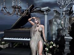 In Twilight (Sparkle Mocha) Tags: piano dark sky colums water fall long dress gown formal necklace blueberry mandala maitreya avatar avie