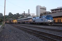 Amtrak Meets UP at Martinez (CaliforniaRailfan101 Photography) Tags: amtrak amtrakcalifornia unionpacific up capitolcorridor sanjoaquin californiazephyr ge emd cdtx f59phi p42dc c45accte es44ac es44ah et44ah gevo gp402 gp382 ac44ccte ac4400cw sd70m sd70ace npcu cometcar hirail siemens sc44 charger amtrakcascades patched patchedsp sp southernpacific heritage coaltrain manifest intermodal ztrain