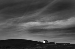 Godrevy Farmhouse with big sky (Cheekybikerboy) Tags: godrevy bw contrast cornwall canon 1022 wideangle 7d polarised polarized clouds sky landscape farm farmhouse