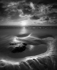 Tranquil Sunset, Perran Sands, Cornwall (Mick Blakey) Tags: shoreline tranquil sand sunset cornish perransands clouds cornwall tide blackwhite monochrome perranporth dusk twilight beach contrast seascape goldenhour coast coastal sea