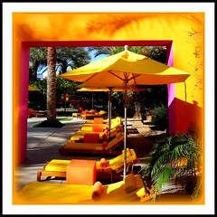 sunlight² (milomingo) Tags: scottsdale arizona saguarohotel resort getaway destination rr southwest frame photoborder outdoor square yellow pink umbrella furniture outdoorfurniture tree palm shadow frond bold bright vivid vibrant lounge chaiselounge sunlit light contrast geometry patio
