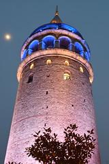 DSC_0079 (görkemsakarya) Tags: historicalbuilding building fotoğrafçılık photography galatakulesi history moonlight lights tree blue moon beyoğlu galatatower