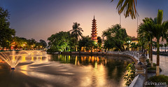 Trấn-Quốc-Pagoda, Hanoi, Vietnam (dleiva) Tags: architecture asia vietnam dleiva domingo leiva landscape travel photography sunset beauty horizontal hanoi sunlight outdoors color image no people overcast destinations capital cities west lake tran quoc pagoda igniting cloud sky