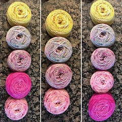 I could go a few ways with the overall color placement for my #findyourfadeshawl. I think I am leaning most towards the one on the right, so I end up with my highest saturation colors on the ends, but I could also drop to four colors completely. What say (pixelicious717) Tags: ifttt instagram ravelry