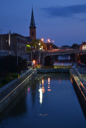 The locks at dusk