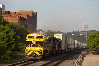 Virginian Heritage unit passes the former Duquesne Brewery, Pittsburgh