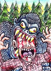 Stank Ape Feast (Tom Bagley) Tags: canada calgary monster atc weird wildlife cartoon folklore eerie creepy gore horror demon hunter macabre sharpie bigfoot sasquatch cornball ooky bood colouredpencils tombagley canadiancontent handmadeinsmallbatches savagesasquatch