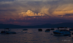 Lake Tahoe Sunset (San Francisco Gal) Tags: sunset sky cloud mountain lake nature water landscape boat laketahoe cumulus sierranevada