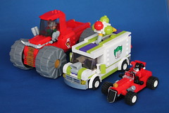 Riddler Joker and Harley's vehicles (Hen Peril) Tags: lego batman vehicle moc