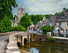 Castle Combe (Beardy Vulcan) Tags: road street wood bridge england tower church june river spring day village cloudy cottage valley standrews wiltshire chippenham castlecombe 2013 bybrook