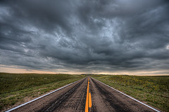 Storm clouds over Highway 97 near Valentine, Nebraska (diana_robinson) Tags: storm highway nebraska perspective valentine sunflowers 97 stormclouds yellowline approachingstorm highway97 valentinene