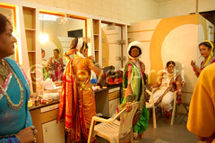 Tea Break in Dressing Room (keyaart) Tags: india men women dancers folk mumbai lavani