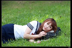 nEO_IMG__MG_3155 (c0466art) Tags: street school light portrait cute girl beautiful field grass canon pose bag walking book eyes uniform natural action sweet outdoor east lie 5d taipei lovely pure hight dowm  c0466art