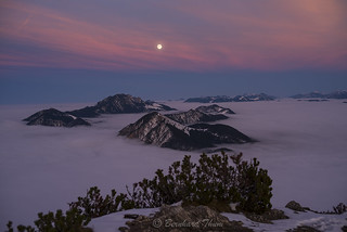 Full moon over Jochberg and Benediktenwand