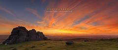 Haytor Dartmoor (konaelf) Tags: park uk clouds sunrise fire dawn rocks devon national tor dartmoor haytor vision:sunset=0895 vision:outdoor=0824 vision:clouds=0901 vision:sky=0982