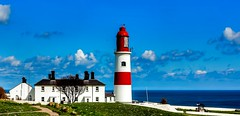 Souter Lighthouse (TK Photography) Tags: uk blue red sea england sky lighthouse white storm heritage history tourism electric coast europe waves wind north first windy landmark gale spray safety east huge coastline rough sunderland souter whitburn