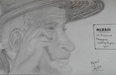 Mixali in Phylis' hat - pencil sketch (Gregelope) Tags: portraits artwork sketching