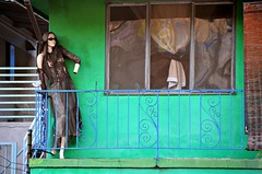 Lady in Waiting (Pedestrian Photographer) Tags: california ca woman green mannequin window sunglasses wall la los hands dress apartment angeles lace no balcony pedestrian barefoot february feb lacy amputee ribbet amputated 2014 handless dsc6518 pedestrianphotographer