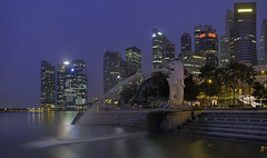 A Failed Sunrise (JoonWeh) Tags: morning blue architecture canon landscape singapore asia long exposure cityscape merlion