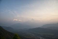 Warm Mountain (William J H Leonard) Tags: morning nepal sky sun mist mountain snow mountains fog sunrise skyscape landscape haze day valley nepalese pokhara nepali gandakizone kaskidistrict pokharavalley westerndevelopmentregion
