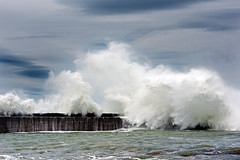 (Mimadeo) Tags: ocean sea seascape storm water weather danger dark coast pier big energy waves risk wind crash hurricane extreme large wave stormy nobody spray coastal shore foam coastline rough splash tempest heavy powerful seashore cyclone breaker breaking breakwater