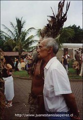 Don Sebastán Pakarati, ex-Alcalde de Rapa Núi, un hombre sabio, querido y respetado. Miércoles 20 de febrero 2002.