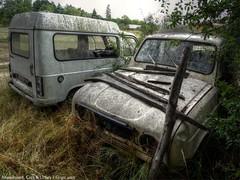 Renault F6 _ 18 (Gauthier.C) Tags: old abandoned car photo duo sony 4 champs cybershot renault arbres deux l 4l mousse f6 épave rouile arbustre