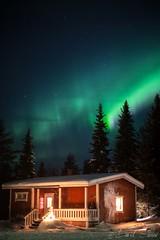 Polar Night In Finland (saussedavid) Tags: winter hiver landscape paysage nature night nuit polar polaire arctic arctique aurore boreale northern light snow neige chalet cottage cabin finland finlande lapland laponie