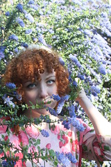 IMG_2551 (Nicole Eymard) Tags: pink flowers blue roses sun hat fashion socks vintage garden hair ginger eyes shoes dress indian crochet curly purse parasol 1950s wicker bushes saddle nicoleeymard nicolemackey