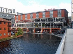 The Mailbox: Birmingham (Row 17) Tags: city uk greatbritain england urban building architecture buildings mall canal birmingham cityscape unitedkingdom restaurants engineering olympus canals gb shops westmidlands cafes birminghamuk