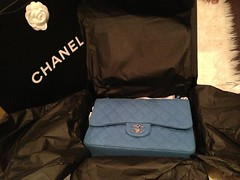 Unboxing! (Alyiena) Tags: blue leather shopping chanel luxury authentic caviar shw 255 silverhardware chanelclassic