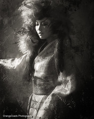 Surreal Geisha (Toni Wallachy) Tags: blackandwhite texture monochrome vintage studio model surreal geisha toniwallachy orangeroads