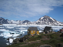 Greenland. (VERUSHKA4) Tags: life travel blue summer sky cloud dog white house mountain lake ice nature water animal stone canon denmark island wooden view north july ciel shore greenland stunning land iceberg scape vue outstanding northcountry