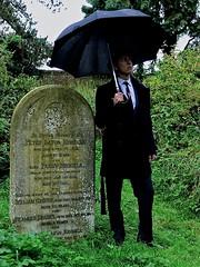Seems like rain (colour) (Pickman's Paintbrush) Tags: abandoned church grave graveyard grass rain umbrella lost moulton 2013