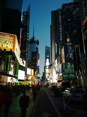 Times Square, Broadway and 48th, The Cross Streets of New York (Sebastian Anthony) Tags: city nyc travel blue red usa signs green tourism night lights lowlight manhattan broadway timessquare lumia1020 crossstreetsofnewyork