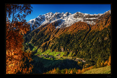 Mountains instead of clouds (Kemoauc) Tags: autumn sun mountain alps tree berg gold herbst valley alpen hdr tal jrg kemoauc sentko