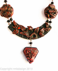 cinnabar necklace and pendant-4 (ketztx4me) Tags: asian necklace carved clay faux polymer cinnabar polymerclayart polymerclayjewelry rmkdesign