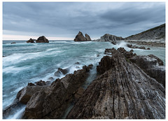 Behind The Scenes (MANUELup) Tags: ocean sea españa cloud verde green rock relax landscape mar spain long exposure quiet paisaje calm cielo calma nube roca cantabria select exposición tranquilidad liencres arnía