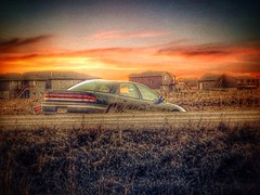 Whoops! (MacSmiley) Tags: sunset car composite automobile ditch sundown vignette caraccident macsmiley iphone5 blendedphoto paintfx iphoneography snapseed hdrscape