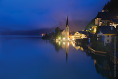 Dawn at Hallstatt. (baddoguy) Tags: city mist lake reflection horizontal fog austria twilight village copyspace iconic worldheritage hallstatt traveldestination