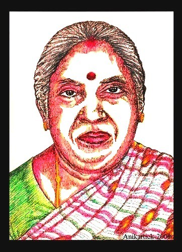 T.SUBBULAPURAM is Our Native Place - My Mother A.ALAMELU AMMAL in my Color Pencil Art - Artist Anikartick ( Vasu engira Karthikeyan )