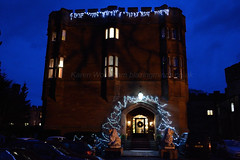 Ruthin Castle Entrance at Night (Blazing Minds) Tags: castles architecture night evening darkness stonework lions northwales ruthincastle
