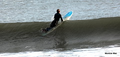 Caught the wave (mootzie) Tags: blue black aqua waves surfer wave surfing aberdeen surfboard balance wetsuit