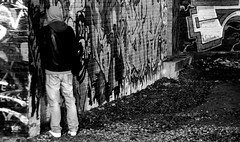 When you gotta go. (Sam_Carpenter1974) Tags: blackandwhite man london streetphotography bricklane peeing eastlondon
