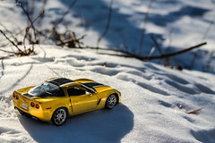 Hot Car in Cold Weather [EXPLORED] (Rivitography) Tags: chevrolet car yellow canon rebel muscle adobe american t3 corvette sportscar c6 horsepower lightroom z06 diecast rivitography