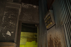 STYX (kasa51) Tags: graffiti ventilator pillar beam corrugatedplate galvanizedironsheet yokohama japan scratch damage rust ruined alley