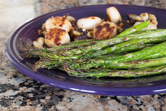 Back on Track (dmoranphotog) Tags: fiestaware asparagus food lunch plate roastedgarlic scallops