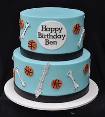 Orthapedic surgeon and basketball themed birthday cake (jennywenny) Tags: surgeon bones buttercream basketball birthday cake